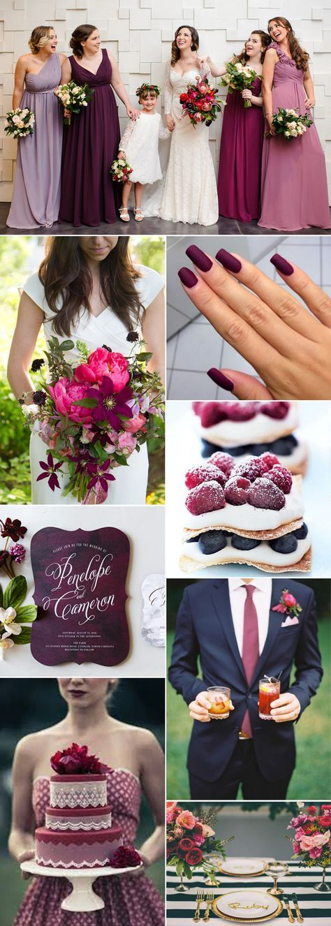 If you are looking for a stylish and sophisticated wedding color palette then a deep berry hue can work beautifully no matter the season. Mix deep berry tones with lush lighter pinks and greens for a spring or summer wedding day