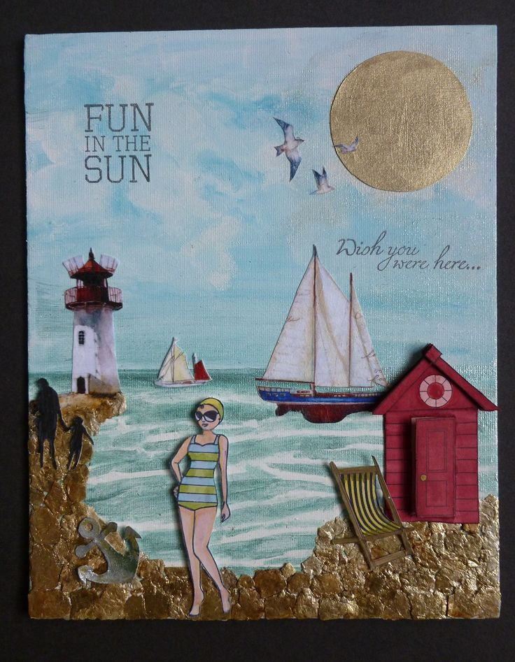 """'Fun in the Sun' Canvas - Imagination Craft's - 8""""x10"""" Canvas.  Metal spatula.  Baltic Blue MDF paint.  White Gesso.  Decoupage glue.  Silver gold & Agean Starlight paints.  Rice paper no. 284.  Promarker pens.  Black inkpad.  Stamps - free with Craft Magazine.   Vermicullite.  May 2016.  By Jennifer Johnston."""