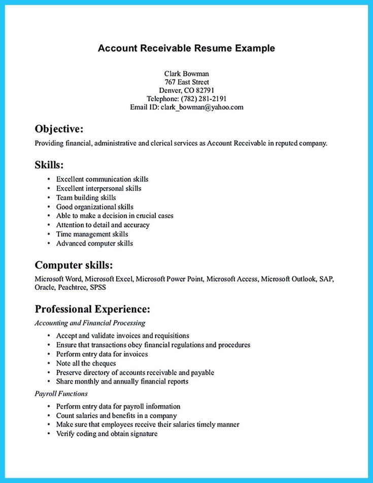 cool Awesome Account Receivable Resume to Get Employer Impressed,