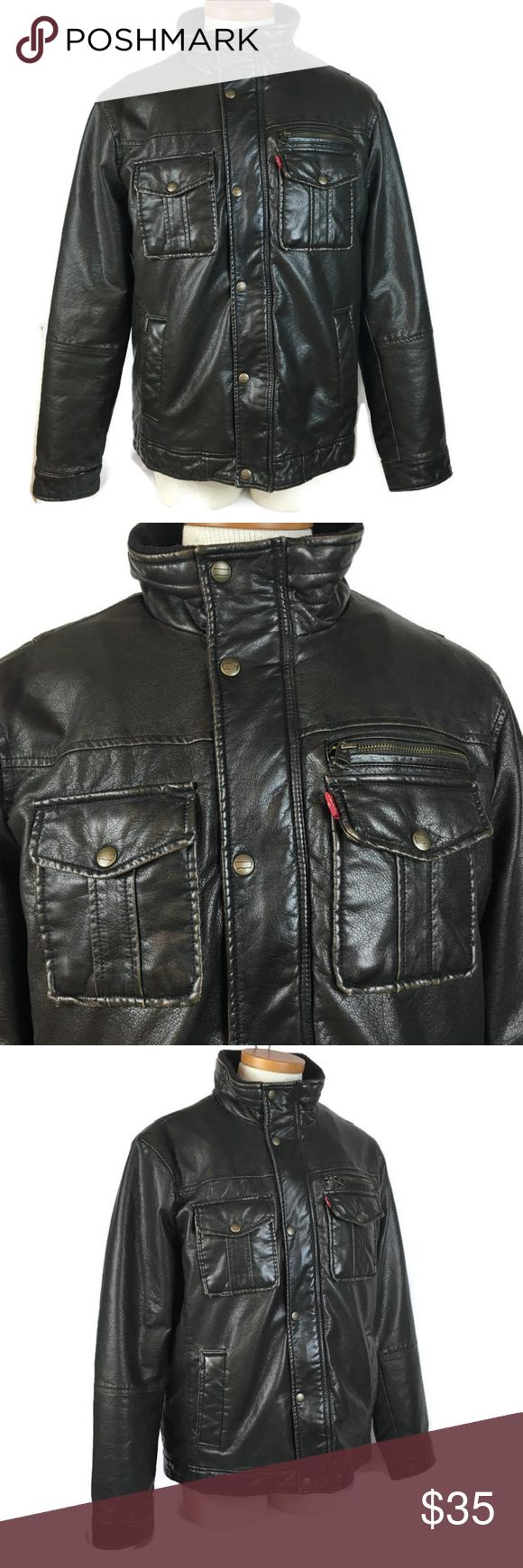Levi's Faux Leather Men Jacket Size Large Brown Leather