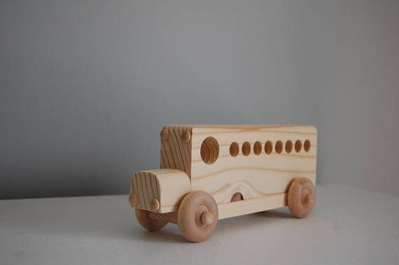 Autobuses escolares juguete madera