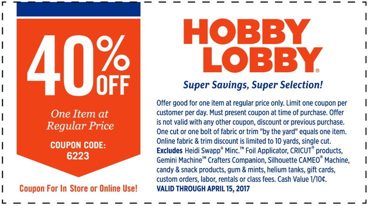 Pinned April 9th: 40% off a single item at #HobbyLobby or online via promo code 6223 #TheCouponsApp