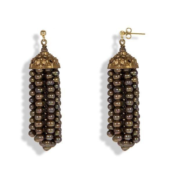 Handmade Bronze Pearl Tassel Earrings - Anthos Crafts - 1