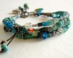 Sterling Silver Turquoise Multi Strand Boho Bracelet
