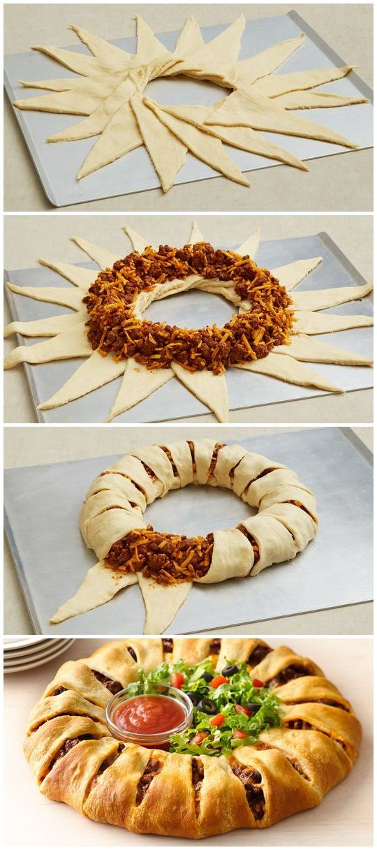 This taco-filled crescent ring is the perfect meal for Taco Night! Dress it up with fresh shredded lettuce, chopped tomatoes and taco sauce for a fun twist ...