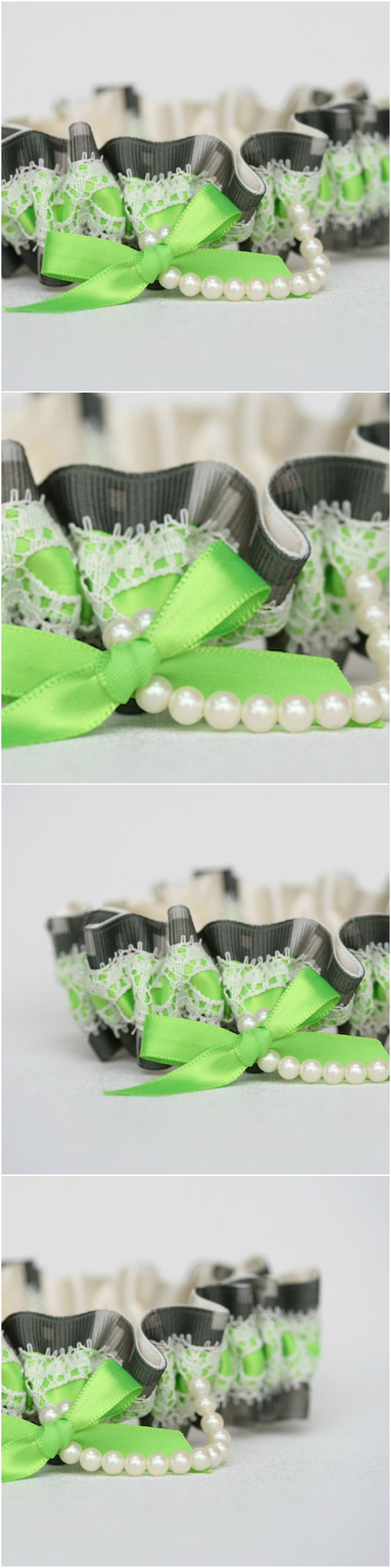 Custom Pretty Lace and Pearl Camouflage Wedding Garter-by The Garter Girl