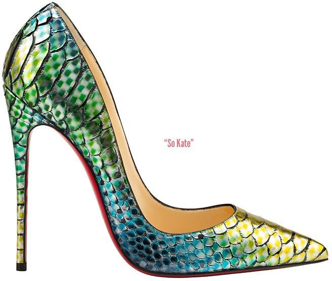 Lord YES!!! Christian Louboutin's new Spring 2015 So Kate pump in a lovely aquarium-inspired hand-painted python <3