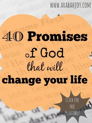 II Peter 1:4 says that through the promises of God we participate in the Divine nature.  God's promises have the power to literally change our lives. Here are 40 promises to begin trusting God for TODAY.
