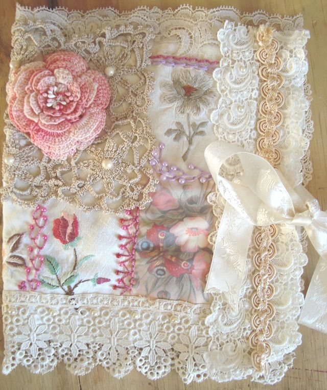 I ❤ crazy quilting & embroidery . . . Shabby Collage Book wrap, closed~ Another eclectic mix of vintage linens & crocheted doilies & some very yummy ancient lace. A deliciously tactile book wrap for that precious keepsake. ~By Stitching Always