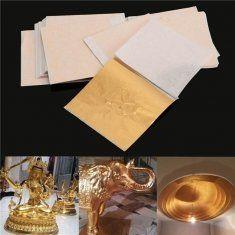 100pcs 8x8.5cm Champagne Gold Foil Leaf Gilding Sheets Set Crafts Decor