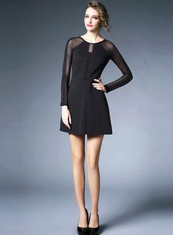Shop for high quality Black Mesh Patch Long Sleeve Dress online at cheap prices and discover fashion at Ezpopsy.com