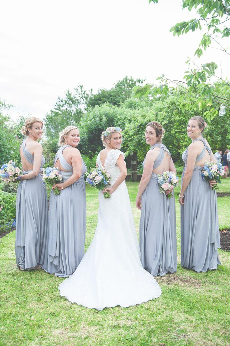 Multi Way Bridesmaid Dresses Grey BHS Floral Pretty Country Garden Wedding http://lisahowardphotography.co.uk/