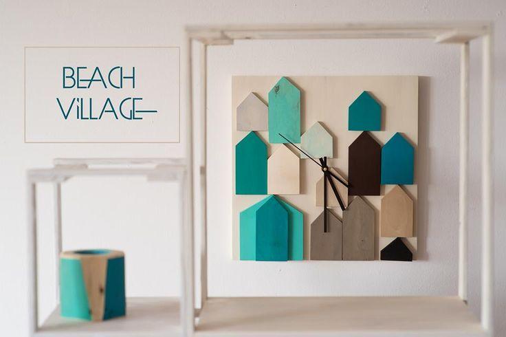 Beach Village - 3D Wood Wall Clock - Geometric Mosaic - 71$ Shop here: http://bit.ly/beach-village-etsy