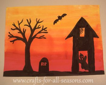 this halloween art project gives a complete tutorial on how to paint a spooky scene over a sunset lit background this makes a great art project for kids - Preschool Halloween Art Projects