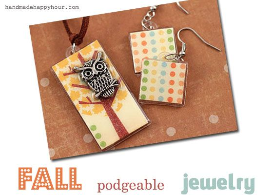 DIY Owl Necklace and Earrings made with Mod Podge and Podgeables #fall