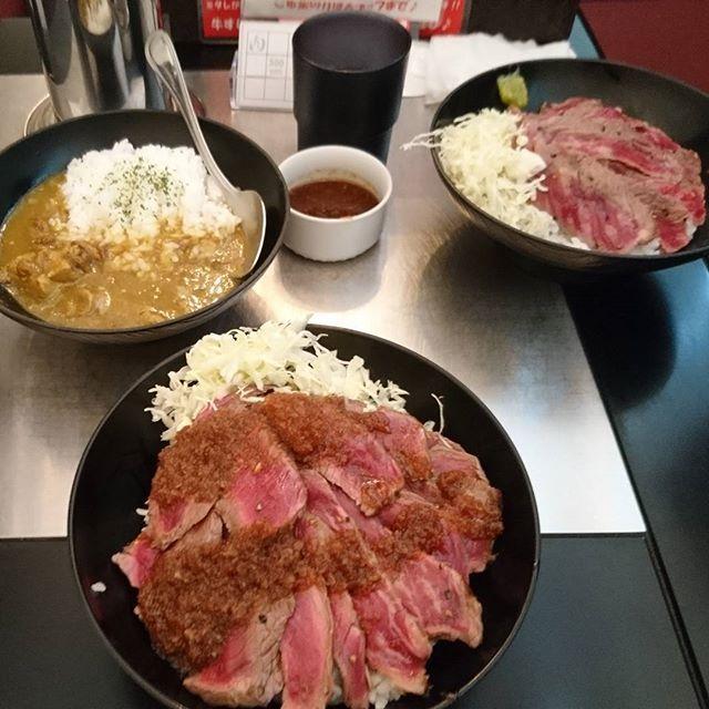 なぜかお腹いっぱいにはならなかったや😊 #南国風牛すじカレー #やわらかランプステーキ丼 #肉 #眠い #寝ろ #lunch #牛肉 #昼飯