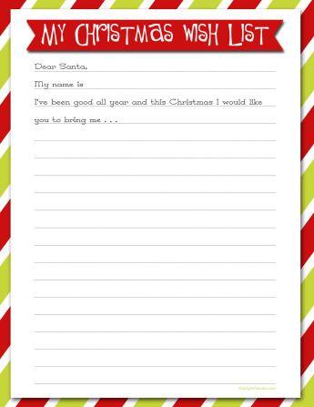 Printable Christmas Wish Lists  Christmas Wish List Paper