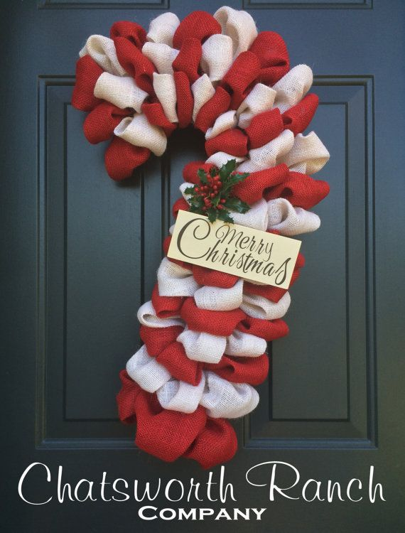 Candy Cane Burlap Wreath Christmas Holiday by ChatsworthRanchCo
