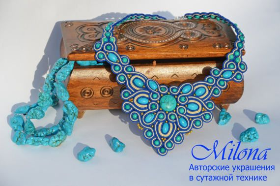 Necklace Turquoise waves by MilonaSoutache on Etsy