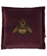 Purple Napoleon Bee Velvet Cushion