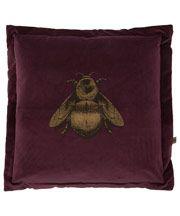 Purple Napoleon Bee Velvet Cushion