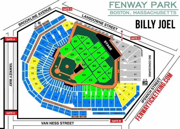 Billy Joel Fenway Park Tickets Fenway Ticket King For Fenway Park Concert Seating Chart24341 Fenway Park Fenway Park Boston Billy Joel