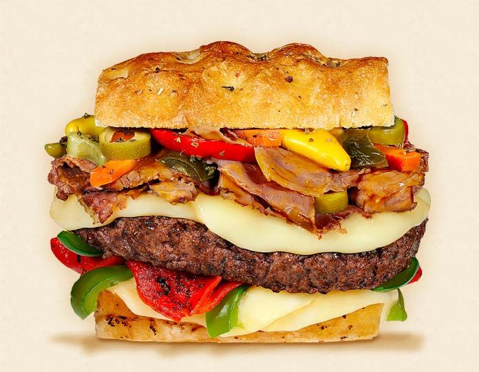 The Chicago:  Wisconsin Provolone Cheeseburger Recipe.  Other ingredients:  Italian beef, au jus, beef patty, giardiniera, and Italian roll.  - Wisconsin Milk Marketing Board