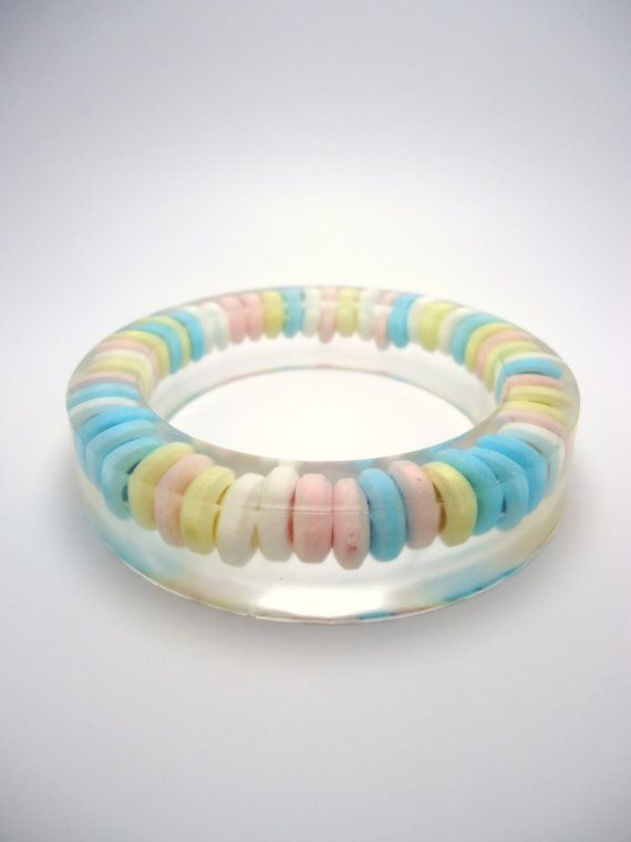 Resin Bangle Bracelet Real Candy Bracelet by TheQuietRiot on Etsy.
