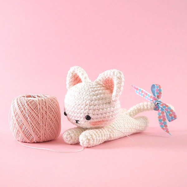 Sweet lying down kitty amigurumi pattern by LittleAquaGirl