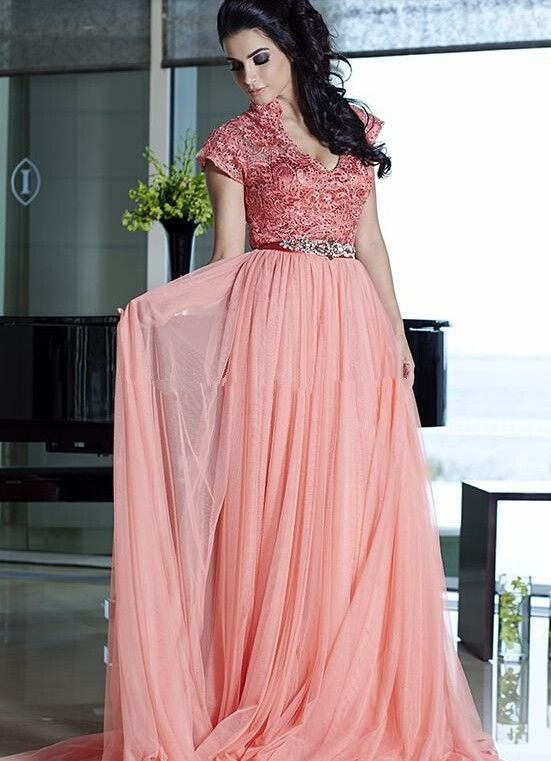 Long Pink Evening Dress Chiffon Plus Size Evening Gowns with Cap Sleeves long Maternity Prom dress