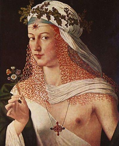 Lucrezia Borgia as the goddess 'Flora' by Bartolomeo Veneto.