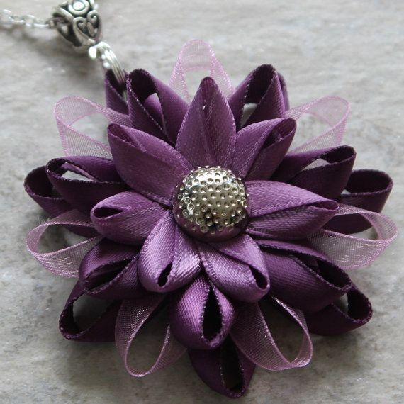 Orders ship in 3-5 business days.   Love purple? Youll love this purple flower necklace, handmade from purple satin and organza ribbons. The