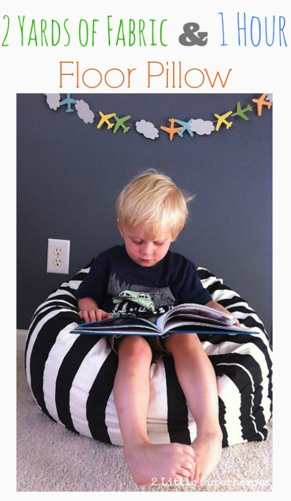 DIY floor pillow made with 2 yards of fabric and in 1 hour! By 2 Little Superheroes!