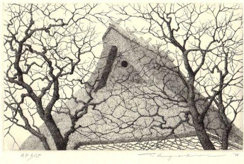 """iamjapanese: """" TANAKA Ryōhei(田中良平 Japanese, b.1933) Persimmon 柿の木 """""""