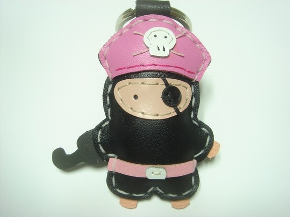Hez the Pirate Leather Keychain  Black / Pink  by leatherprince, $22.90