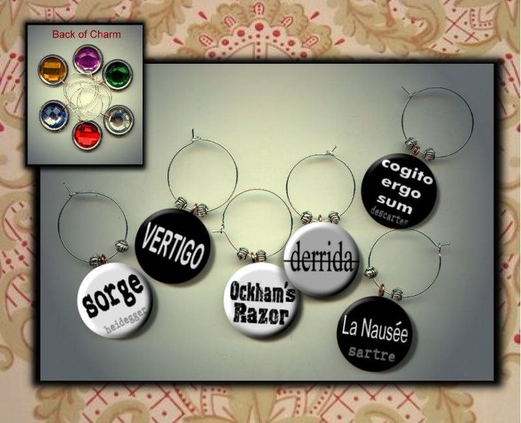 Philosophy Sociology terms phrases concepts lingo Set of six 6 photo WINE Glass Charms w/ Rhinestone by Yesware on Etsy