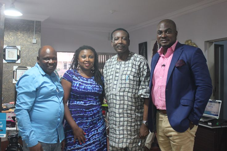 A.I.G Osanaiye(Rtd) with some of the crew members after the interview