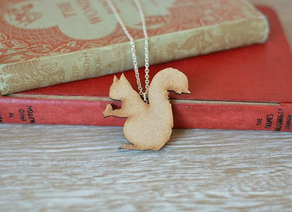 Wooden Squirrel Necklace. A delightful handmade squirrel necklace, with silver plated chain and findings.   https://www.etsy.com/uk/listing/227579083/wooden-squirrel-necklace-woodland-animal?ref=shop_home_active_6