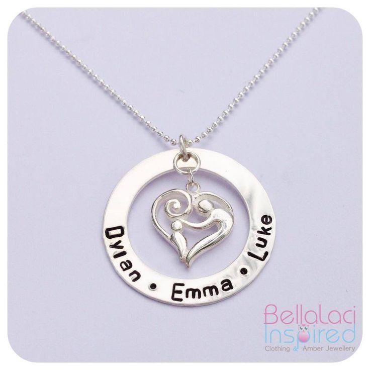 """BellaLaci Sterling Silver Large """"Mother & Child"""" Handstamped Necklace."""