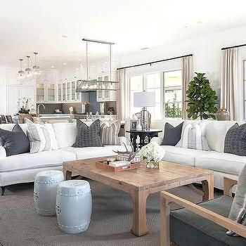 White Roll Arm Sofa on caster Legs with Reclaimed Wood Coffee Table, Cottage, Living Room