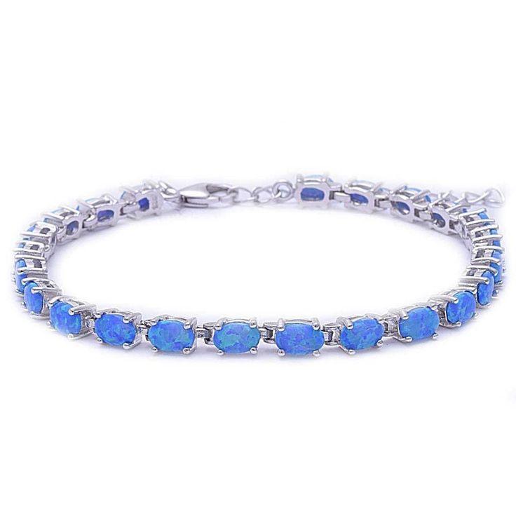 """Tennis Bracelet Oval Shape Blue Opal Bracelet Solid 925 Sterling Silver 9"""" Lab Oval Blue Opal Oval Cut Full Eternity Bracelet Christmas Gift"""