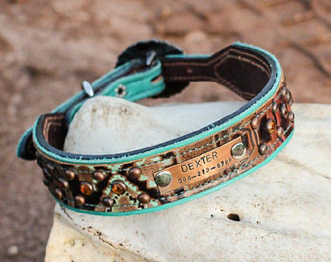 Custom Dog Collar // Leather Dog Collar // Navajo and Crystals // Southwestern // Western