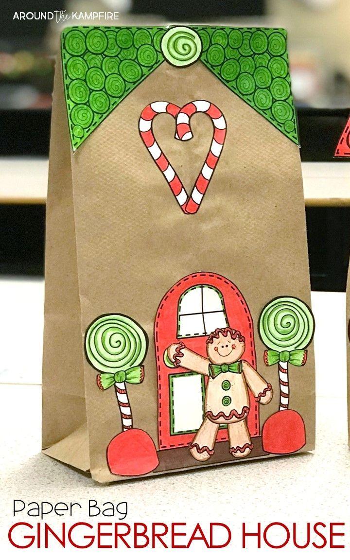 gingerbread house craft and gift bag first grade friends rh pinterest com