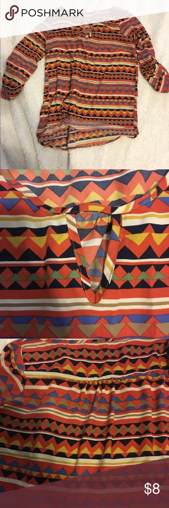 Aztec Blouse Burnt orange Aztec Blouse with Keyhole. Only worn a few times so it is in excellent condition Tops Blouses