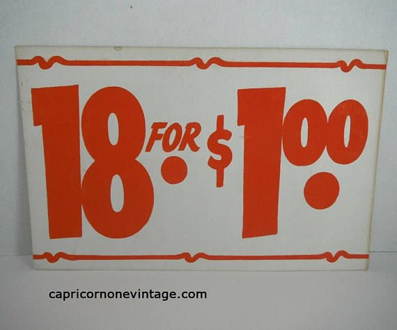 Vintage Price Sign 18 for 1.00 Vintage Retail Sign 1960s