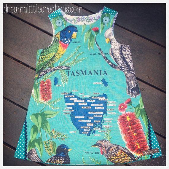 Quirky teatowel aline pinny dress Tasmania by dreamalittleshoppe