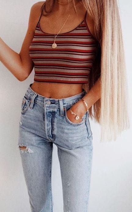 #Summer #Outfits / striped crop top + jeans – Wachabuy   Outfits & Lifestyle