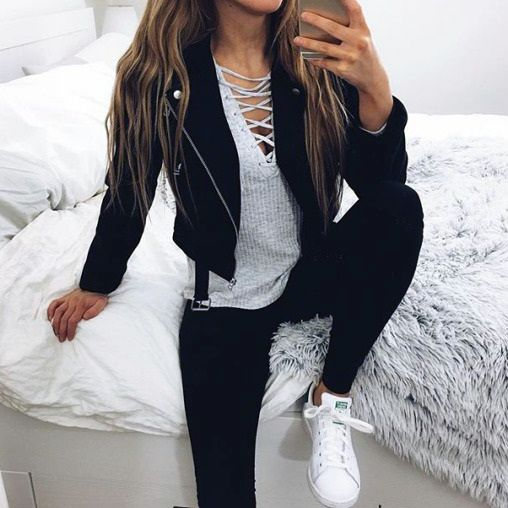 Cute outfit. Leather jacket black jeans. Lace up top. Teen fashion. Fall fashion.