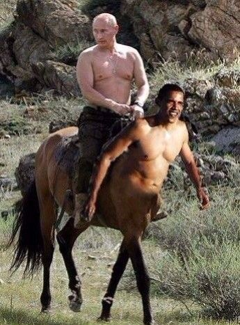 Fun-Photoshop.com | Putin On Obama Centaur