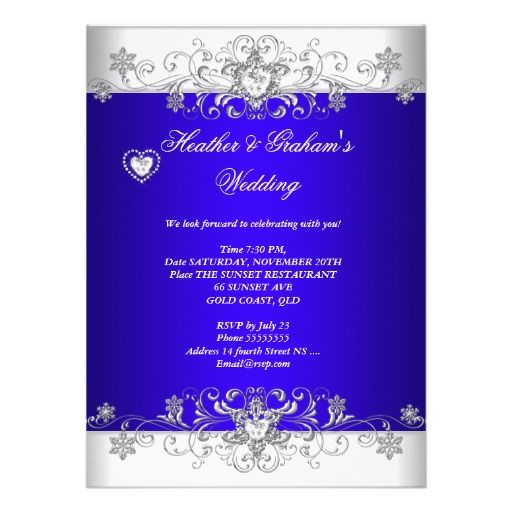 Royal Blue Wedding Silver Diamond Hearts Invitation Wedding Invitations Elegant